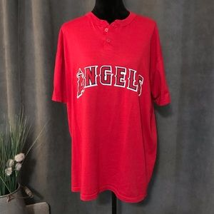 MLB Angels Red Button front T-shirt, Size XL